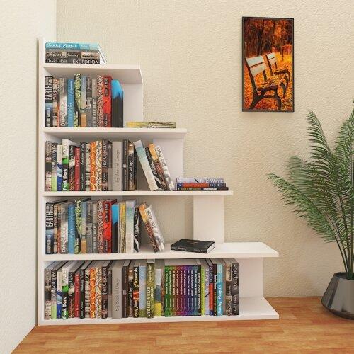 Decorotika Echo White Accent Ladder Bookcase - Organizer - Room Divider