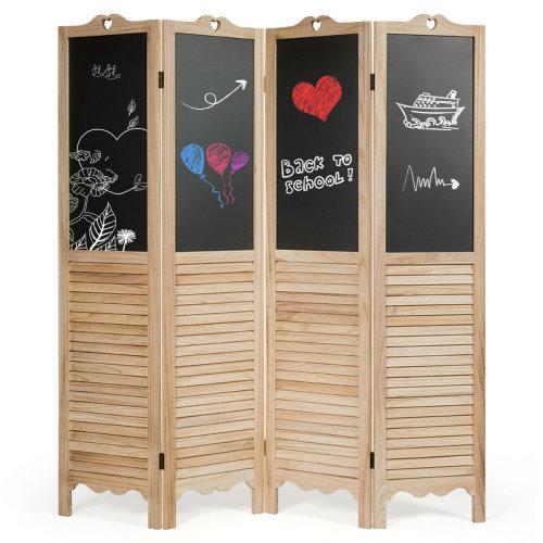 4 Panel Folding Divider Screen Room Decoration Protective Chalkboard