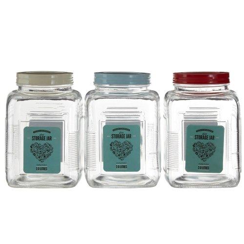2000 ml Glass Storage Jar Assorted Coloured Lids