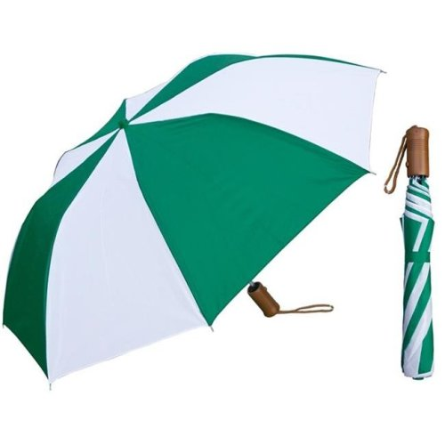 RainStoppers W002GRW-W 42 in. Auto Open Deluxe Green & White Umbrella with Wood Handle, 6 Piece