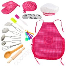 deAO 28 Pieces Kids Chef Costume Pretend Play Baker and Cooking Set with Accessories and Utensils Included - Great Educational Toy for Kids (Pink)