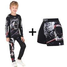 Kids Mma T-shirt +pants Jiu Jusit Tights, Muay Thai Shorts, Compression Sportsuits