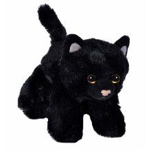 Wild Republic 18089 Hug'ems Soft Toy, gifts for Kids, Cat Cuddly Toy 18cm, Black