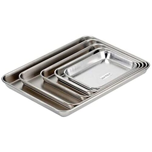 4x Polished Stainless Steel Baking Trays