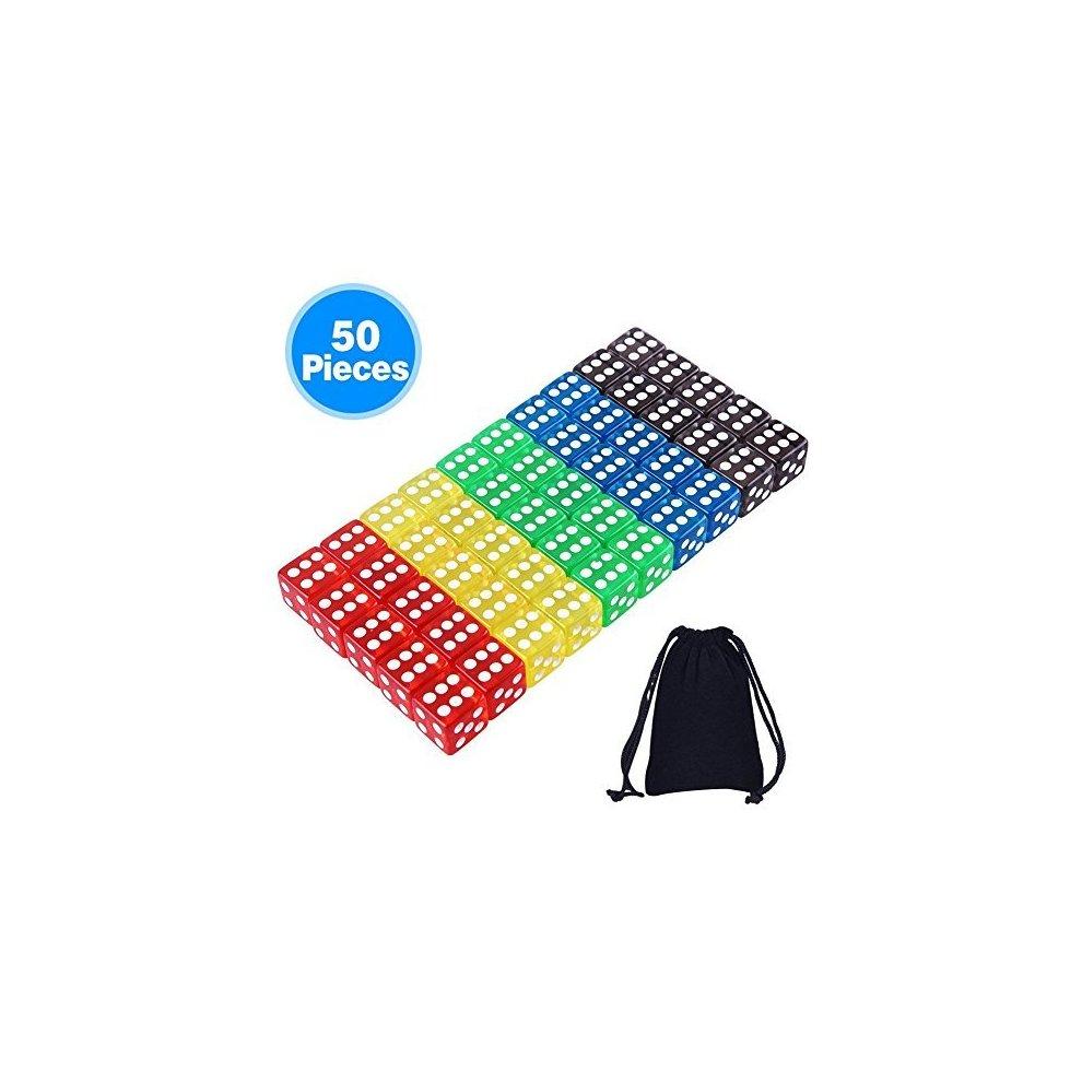 AUSTOR 50 Pieces Game Dice Set Free Pouch Yahtzee 5 Translucent Colors Square Corner Dice for Tenzi Farkle Bunco or Teaching Math