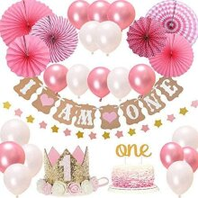 FIRST BIRTHDAY Girl DECORATIONS Pink Theme Kit Set Baby Birthday Party