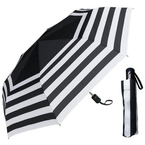 RainStoppers W033 44 in. Auto Open Black & White Stripe Print Super Mini Umbrella, 6 Piece