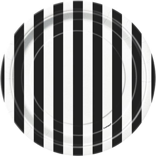 Black Stripes Party Dessert Plates 8pk