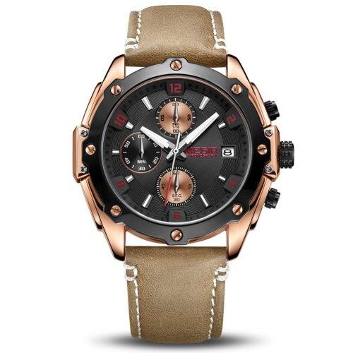 MEGIR Men's Analogue Army Military Chronograph Luminous Quartz Watch with Fashion Leather Strap for Sport & Business Work