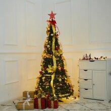 6ft/1.8m Pre-lit Artificial Christmas Tree 350 LED Lights Xmas Decor No Install