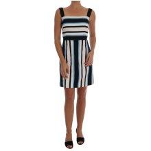 Dolce & Gabbana Blue White Striped Cotton A-Line Dress
