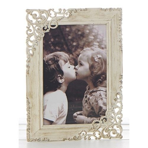 "Cream Vintage Lace Ornate Rustic Metal Photo Frame - 6"" x 4"""