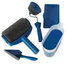 (5pc, Blue) Professional Paint Roller & Decorating Brush Set