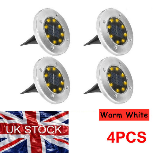 (Warm White) 4Pcs 8LED Solar Powered Ground Lights Outdoor lamp Waterproof  Garden Landscape Spike Lighting for Yard Driveway Lawn Pathway
