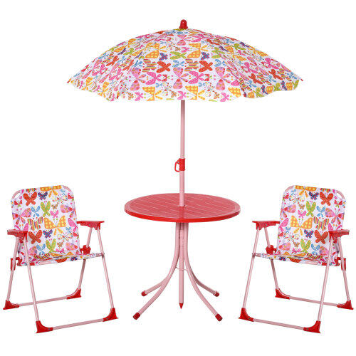 Outsunny Kids Folding Picnic Table Chair Set Butterfly Pattern Outdoor Parasol