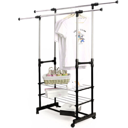 Adjustable Black Clothes Rail With Shoe Racks | Garment Hanging Stand