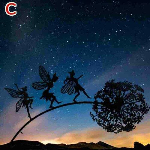 (Dandelion C) Dancing Fairy Dandelion Statue Ornament Stakes