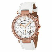 Michael Kors Parker  Ladies Watch¦Chronograph¦Rose Gold-tone White Leather¦MK228