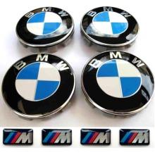 BMW ALLOY WHEEL CENTRE HUB CAPS 68mm + M SPORT STICKERS (4 pcs)