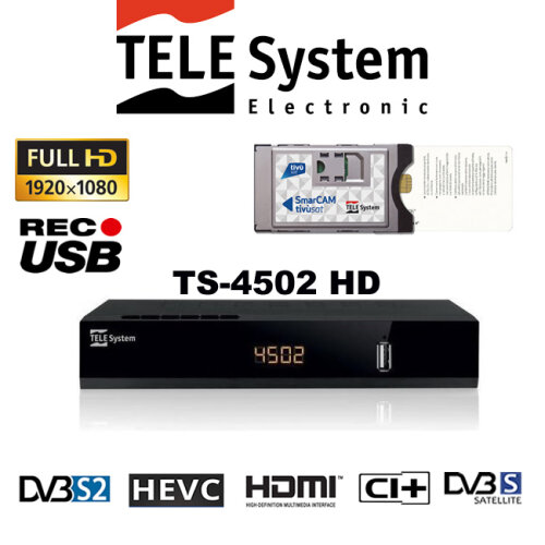 Tivusat HD Cam+Pre-Activated Card + TELESystem TS4502 HD S2 CI+ Decoder
