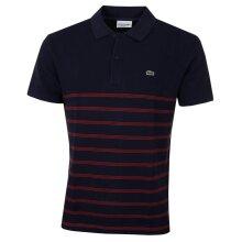 Lacoste Mens PH8711 Ribbed Collar Pique Cotton Striped Polo Shirt