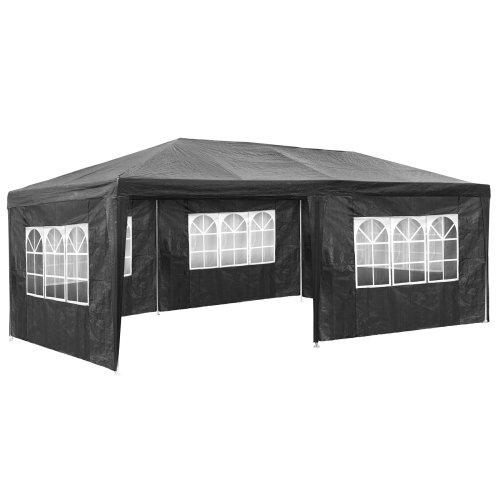tectake Gazebo 6x3m with 5 side panels - garden gazebo, gazebo with sides, camping gazebo - grey