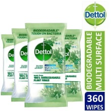 4 x Dettol Biodegradeable Anti-Bacterial Multi-Surface 90 Large Wipes, Total 360