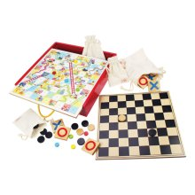 Bigjigs Toys Classic Board Games, Games Compendium - Includes Tiddly Winks, Snakes and Ladders and more
