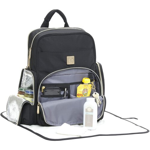 Ergobaby Baby Changing Backpack Anywhere I Go Black, Diaper Bag with Water Repellent Changing Pad Washable