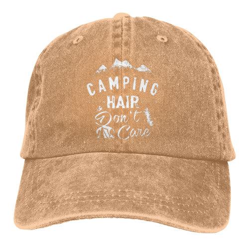 (Brown) Camping Hair Don't Care White Denim Baseball Caps