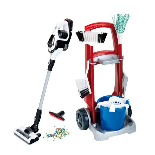 Theo Klein Bosch Cleaning Trolley with Vacuum Cleaner Battery Operated with Suction Power For Ages 3+