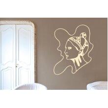 Art Nouveau Women Wall Stickers Art Decals - Medium (Height 57cm x Width 46cm) Beige
