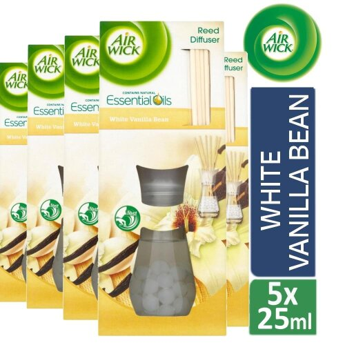 5 x Air Wick Reed Diffuser Air Freshener Scented oil Pure White Vanilla Bean 25ml