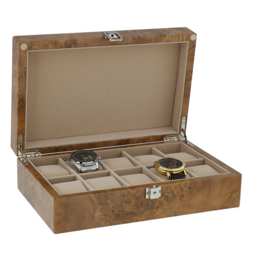 Watch Box for 10 Watches in Light Burl Wood with Solid Lid by Aevitas