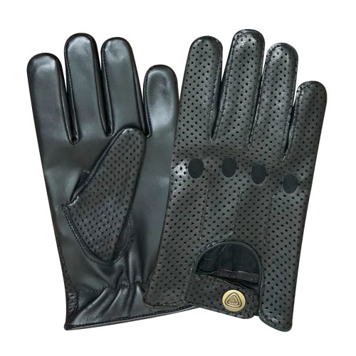 Prime Leather Mens Real Soft Premium and Comfortable Leather  Driving Gloves 519 Black