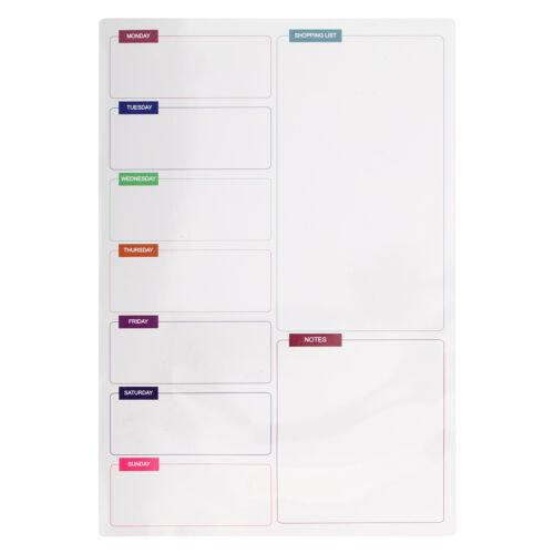 A3 Week Planner Magnetic Whiteboard For Fridge | Magnetic Meal Planner