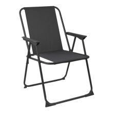 Metal Garden Armchair Folding Low Portable Camping Beach Chair Black x2