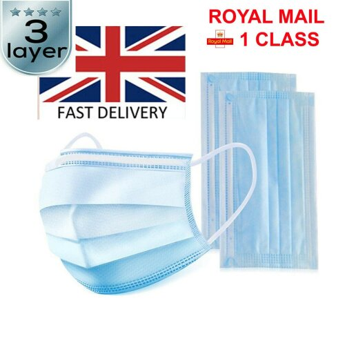 (B) Face mask Disposable surgical  3 layers  face masks face coverings