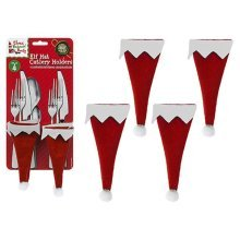 Set Of 4 Elf Hat Cutlery Holders On Backing Card - Table Christmas Ware Chair -  table christmas elf ware chair leg covers runner cutlery holders