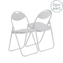 Folding Chairs Padded Faux Leather Studying Dining Office Chair White Frame x2