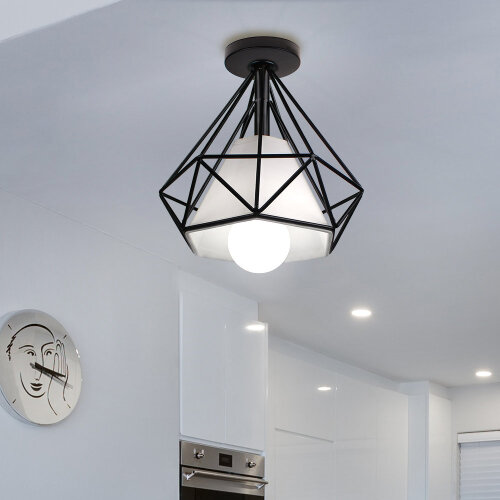(Black) Iron Diamond Cage Ceiling Lampshade Light Fixture