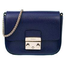 Furla Mini Metropolis Navy Blue Leather Crossbody Bag - Used