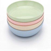 4pcs Dinner Plates Tableware Wheat Straw Crockery