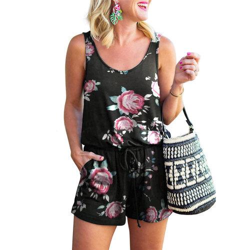 (S) Summer Women Lady Jumpsuit Casual Sleeveless Shorts Plain Loose Playsuit
