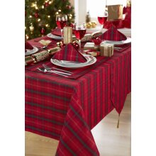 Tartan Red Christmas 100% Polyester Table Linen