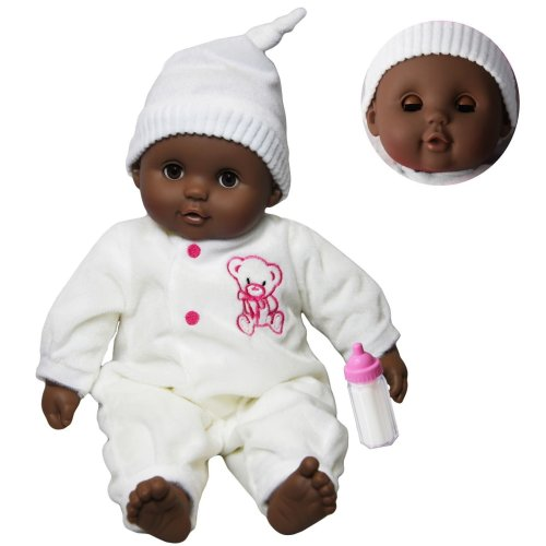 """The Magic Toy Shop 16"""" Dark Skin Soft Bodied Baby Doll With Sleeping Eyes"""