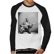 David Redfern Official Photography - Wes Montgomery Playing Guitar 1964 White Men's Baseball Long Sleeved T-Shirt