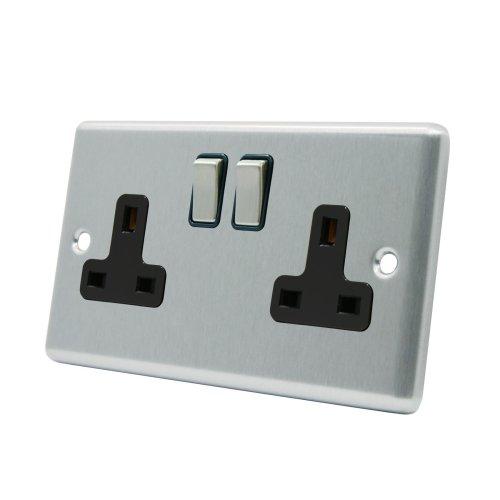 Black Insert Plastic Switch Socket 2 Gang Square 13A Double Wall Plug Socket Satin Matt Chrome