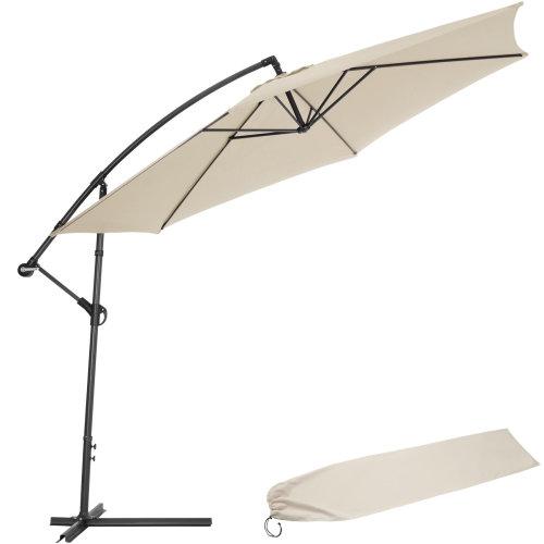 tectake Cantilever Parasol 350cm with protective sleeve - garden parasol, overhanging parasol, banana parasol - beige