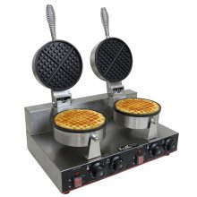 KuKoo Double Waffle Maker Commercial Catering Kitchen Non-Stick Plates